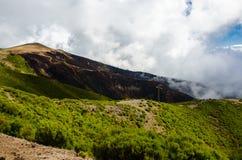 Панорамный взгляд холмов с, который сгорели лесом октябрем 2016 Мадейрой Стоковое Фото