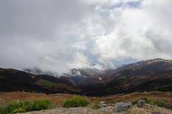 Панорамный взгляд холмов с, который сгорели лесом октябрем 2016 Мадейрой Стоковые Фотографии RF