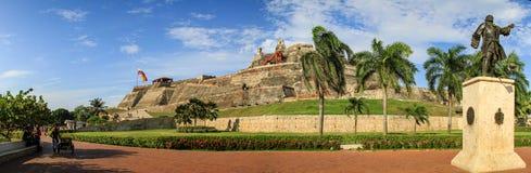 Панорамный взгляд Castillo San Felipe de Barajas, Cartagena de Indias, Колумбии стоковые фотографии rf