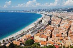 Панорамный взгляд Cote d'Azur около городка славного, Франции Стоковое Изображение RF