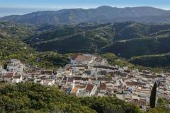 Панорамный взгляд Frigiliana, Андалусии, Испании Стоковая Фотография
