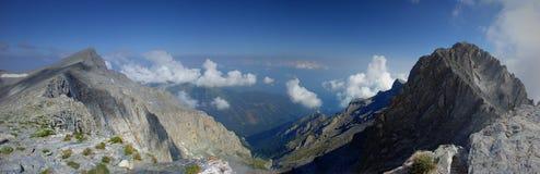 Панорама Греция приключения национального парка Mount Olympus взбираясь открывать стоковые изображения