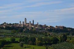 Панорамный взгляд San Gimignano, Тосканы, Италии Стоковая Фотография RF