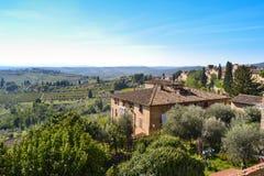 Панорамный взгляд San Gimignano, Тосканы, Италии Стоковые Изображения