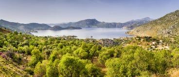 Панорамный взгляд Selimiye Selimiye деревня в Marmaris Стоковая Фотография