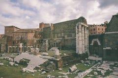 Панорамный вид виска Марса Ultor было старым святилищем в старом Риме стоковые изображения rf