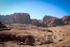 Панорамный вид исторического города Petra, Джордан стоковое изображение rf