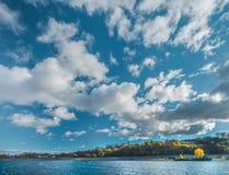 Панорамный вид к Реке Волга и городу Kozmodemiansk стоковая фотография