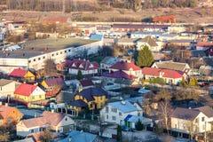 Панорамный вид на квартале городского развития зоны здания деревни жи стоковое изображение rf
