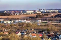 Панорамный вид на квартале городского развития зоны здания деревни жи стоковые фотографии rf