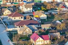 Панорамный вид на квартале городского развития зоны здания деревни жи стоковое фото rf