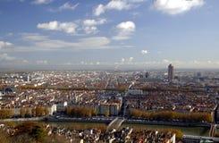 Панорамный вид с воздуха на Lyon Стоковая Фотография