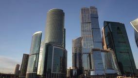 Панорамный вид финансового района города Красивейшие небоскребы видеоматериал