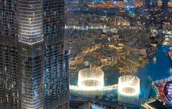 Панорамный вид фонтана танцев Дубай стоковые изображения