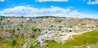 Панорамный вид di Matera Sassi от бельведера стоковое фото rf
