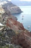 Панорамный вид Fira Панорамный вид на море Thira Остров Греции Santorini в Кикладах r стоковые фото