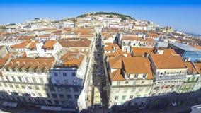 Панорамный вид с воздуха города Лиссабона, Португалии видеоматериал