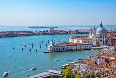 Панорамный воздушный взгляд городского пейзажа к Венеции в Италии Стоковое Изображение
