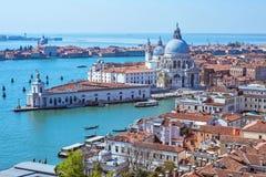 Панорамный воздушный взгляд городского пейзажа к Венеции в Италии Стоковая Фотография RF