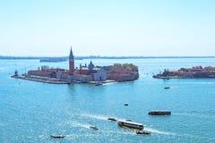 Панорамный воздушный взгляд городского пейзажа к Венеции в Италии Стоковые Изображения RF
