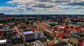 Панорамный воздушный городской пейзаж города Копенгагена, Дании стоковые изображения rf