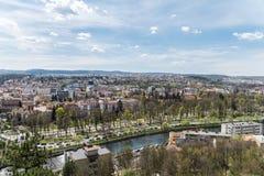 Панорамный высокий взгляд города Cluj Napoca Стоковые Фотографии RF