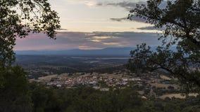 Панорамный городок захода солнца Стоковые Изображения RF