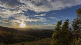 Панорамный городок захода солнца Стоковое фото RF