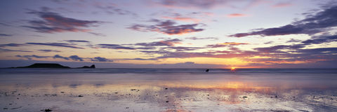 панорамный заход солнца Стоковые Фотографии RF
