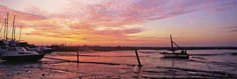 панорамный заход солнца Стоковая Фотография RF