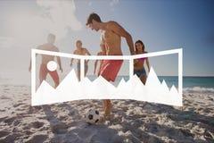Панорамный значок фото против людей на фото пляжа бесплатная иллюстрация