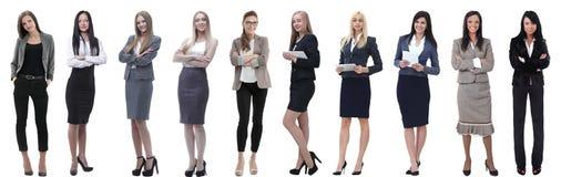 Панорамный коллаж группы в составе успешные молодые бизнес-леди стоковые изображения