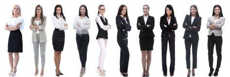 Панорамный коллаж группы в составе успешные молодые бизнес-леди стоковые фотографии rf