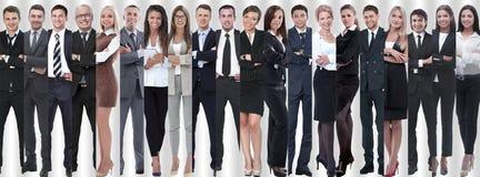 Панорамный коллаж групп в составе успешные работники стоковые изображения