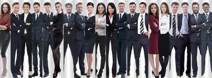 Панорамный коллаж групп в составе успешные работники стоковые изображения rf