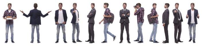 Панорамный коллаж многообещающего молодого человека стоковая фотография