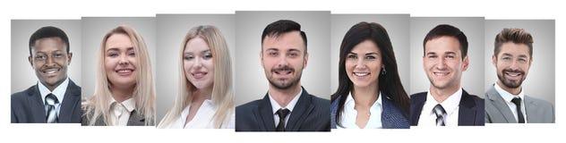 Панорамный коллаж портретов молодых предпринимателей стоковое изображение rf