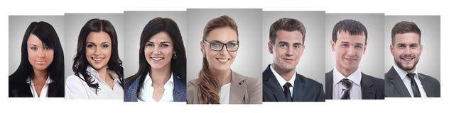 Панорамный коллаж портретов молодых предпринимателей стоковое фото rf