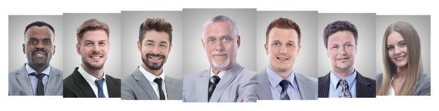 Панорамный коллаж портретов молодых предпринимателей стоковое фото