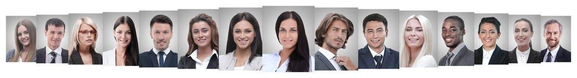 Панорамный коллаж портретов успешных бизнесменов стоковые фото