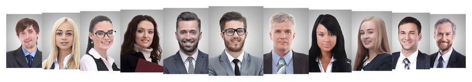 Панорамный коллаж портретов успешных бизнесменов стоковое фото