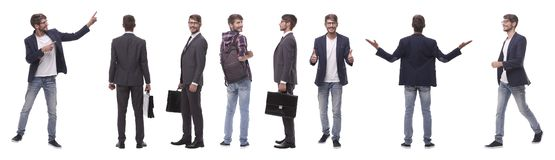 Панорамный коллаж само-мотивированного молодого человека r стоковые фотографии rf