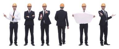 Панорамный коллаж фото квалифицированного архитектора изолированного на белизне стоковая фотография