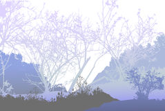 Панорамный, который замерли ландшафт леса с силуэтами заводов и деревьев иллюстрация вектора