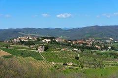 Панорамный красивый вид Radda в провинции Chianti Сиены, Тосканы, Италии стоковые фотографии rf