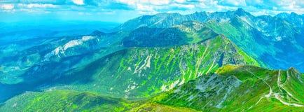 Панорамный ландшафт лета в горах Tatra Стоковые Изображения