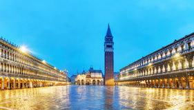 Панорамный обзор квадрата Сан Marco в Венеции, Италии Стоковое Изображение