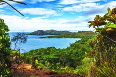 Панорамный обзор к anse Лациу пляжа рая, praslin, seychell Стоковое Фото