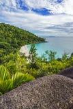 Панорамный обзор к georgette anse пляжа рая, praslin, se Стоковое Фото