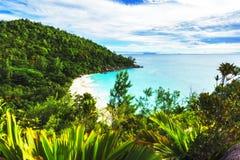Панорамный обзор к georgette anse пляжа рая, praslin, se Стоковая Фотография